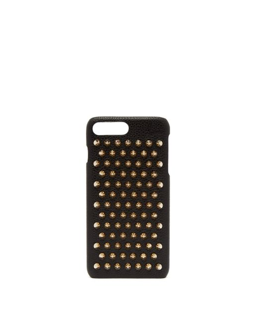 Christian Louboutin Black Loubiphone Spiked Textured-leather Iphone 7 And 8 Plus Case