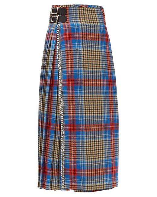 CHARLES JEFFREY LOVERBOY Blue Loverboy Pleated Wool-tartan Kilt Skirt