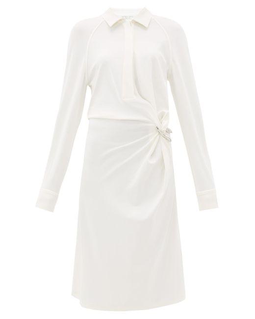 Bottega Veneta ギャザー ジャージーシャツドレス White