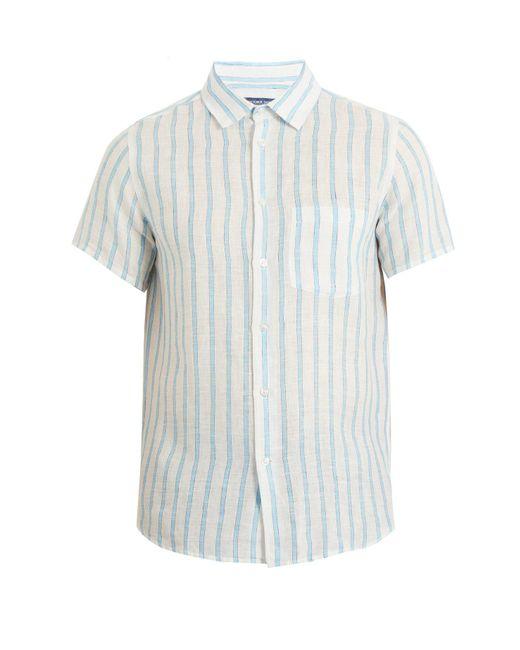 Frescobol Carioca - Blue Short Sleeved Striped Linen Shirt for Men - Lyst