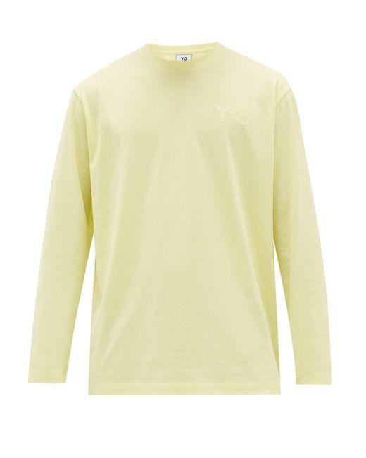 メンズ Y-3 アプライドロゴ コットン ロングスリーブtシャツ Yellow