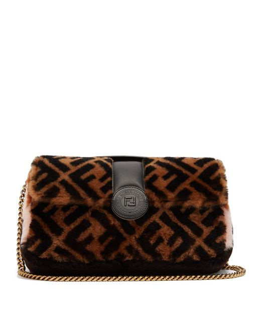 164e7578a6 Fendi - Brown Double Baguette Logo Shearling Bag - Lyst ...