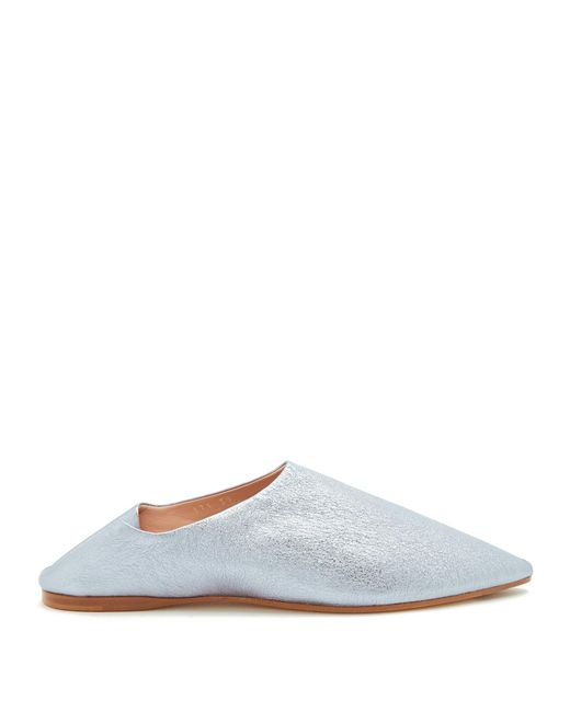 Acne | Metallic Amina Backless Leather Slipper Shoes | Lyst
