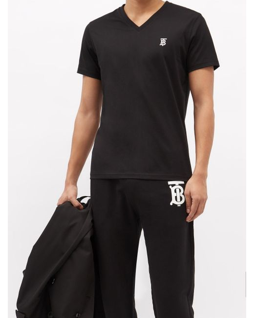 メンズ Burberry Tbモノグラム Vネック コットンtシャツ Black