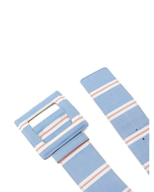 Carolina Herrera ストライプ キャンバスベルト Blue