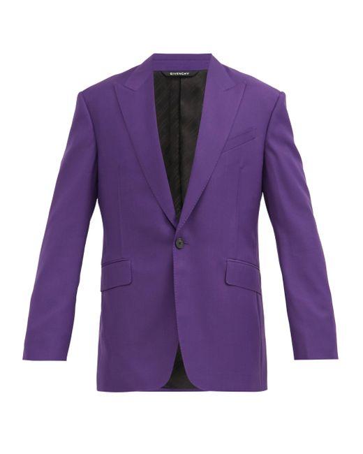 メンズ Givenchy ウールツイル シングルスーツジャケット Purple