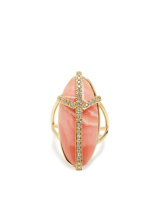 Jacquie Aiche | Metallic Diamond, Rhodochrosite & Yellow-gold Ring | Lyst