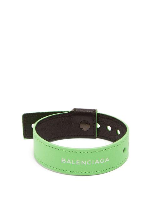 Balenciaga - Green Logo-print Leather Bracelet for Men - Lyst