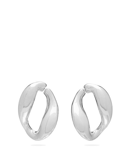 MISHO Metallic Chunky Chain Twisted Hoop Earrings