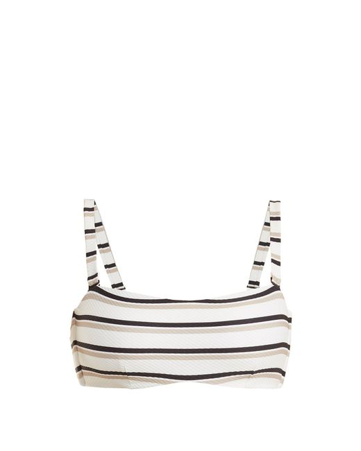 Asceno - Natural Bandeau Striped Bikini Top - Lyst