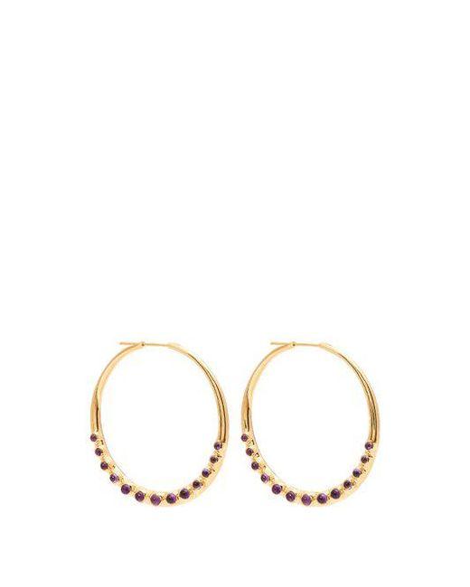 Theodora Warre - Purple Amethyst Cabochon Embellished Silver Hoop Earrings - Lyst
