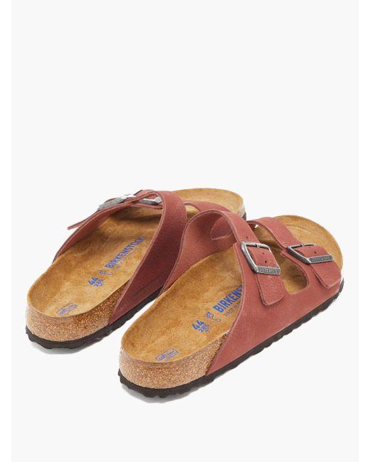 Sandales en nubuck grainé Arizona Birkenstock pour homme en coloris Red