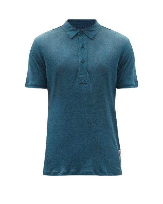 メンズ Orlebar Brown セバスチャン リネン ポロシャツ Blue