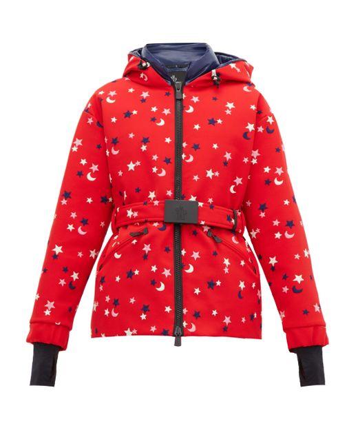 3 MONCLER GRENOBLE スター&ムーン エンブロイダリー スキージャケット Red