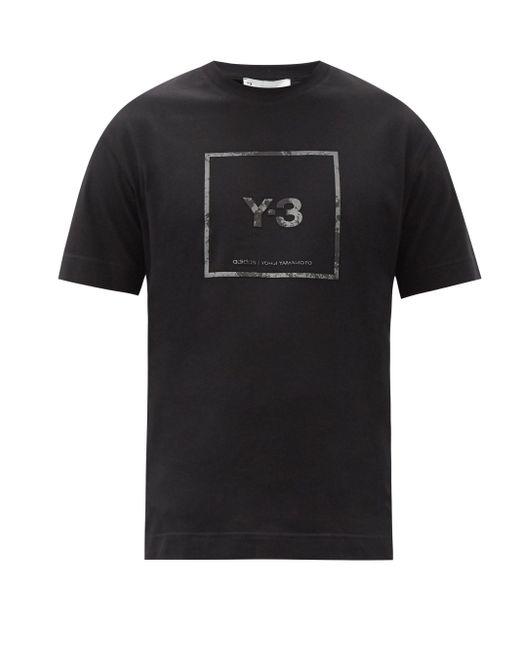メンズ Y-3 リフレクティブロゴ コットンtシャツ Black