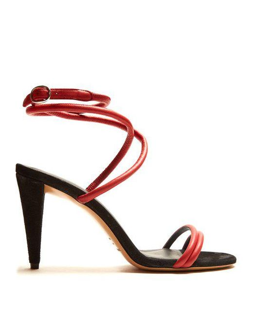 Isabel Marant - Multicolor - Abigua Tie Ankle Leather Sandals - Womens - Red - Lyst