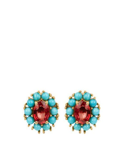 Ileana Makri - Multicolor - Sapphire, Turquoise & Yellow Gold Earrings - Womens - Yellow Gold - Lyst