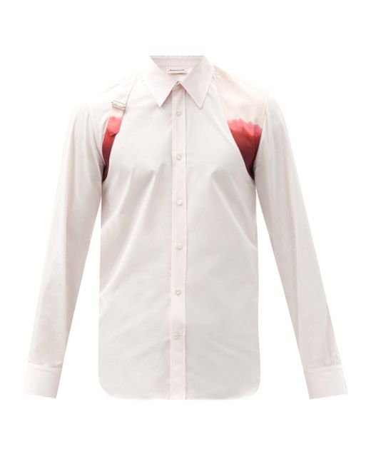 Alexander McQueen White Harness Dip-dyed Cotton-poplin Shirt for men