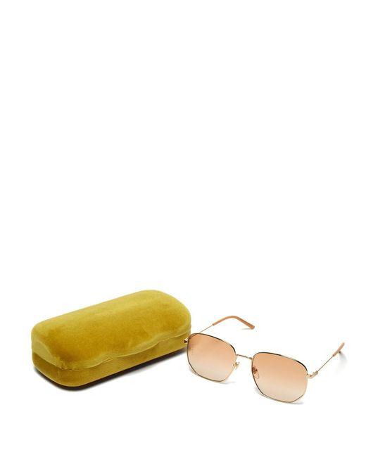 43ff2c5e792 ... Gucci - Orange Oversized Bee Engraved Metal Sunglasses - Lyst ...