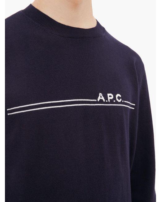 メンズ A.P.C. Eponymous ロゴジャカード コットンブレンドセーター Blue