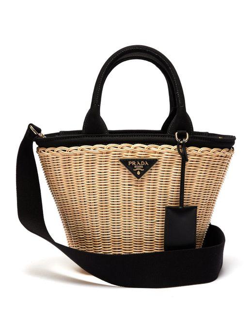 Lyst - Prada Wicker And Canvas Basket Bag in Black - Save 5% f1c3c96a60