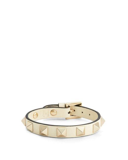 Valentino - White Rockstud Wraparound Leather Bracelet - Lyst