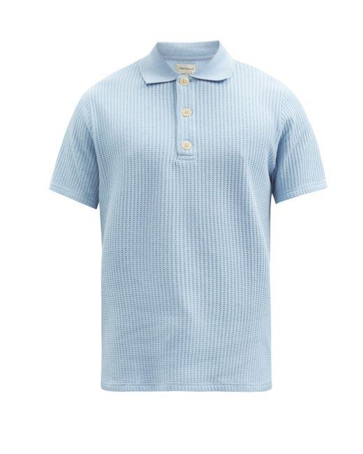 メンズ Oliver Spencer タブリー ワッフル オーガニックコットン ポロシャツ Blue