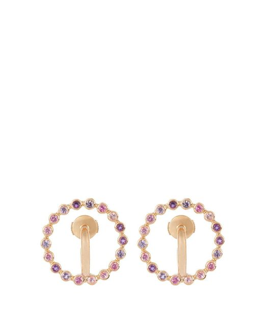 Charlotte Chesnais - Multicolor Saturn Small Sapphire, Amethyst & Gold Earrings - Lyst
