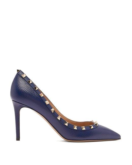 81a30e1cc5b Valentino - Blue Rockstud Grained Leather Pumps - Lyst ...