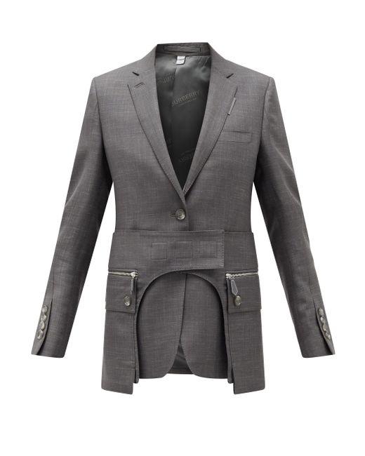 Burberry カットアウト ウールブレンド シングルジャケット Gray