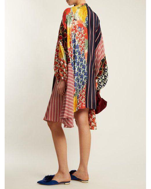 Arie patchwork drawstring silk dress Biyan iQvvxfJM