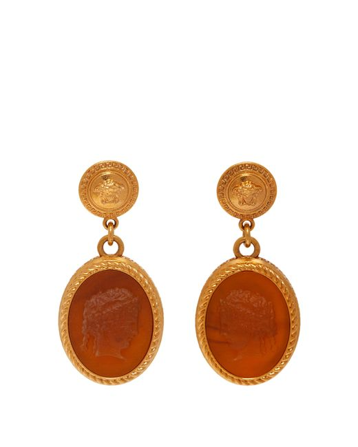 Versace - Brown Cameo Gold Tone Brass Dropped Earrings - Lyst