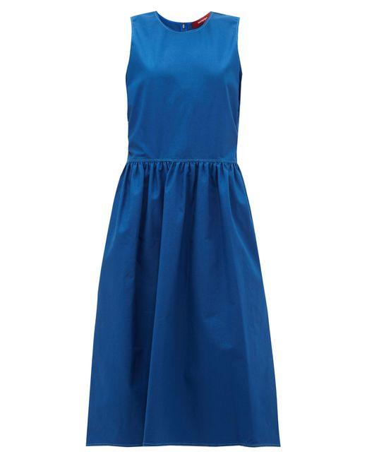 Sies Marjan Robe en coton mélangé à surpiqûres Violetta femme de coloris bleu ak3g2