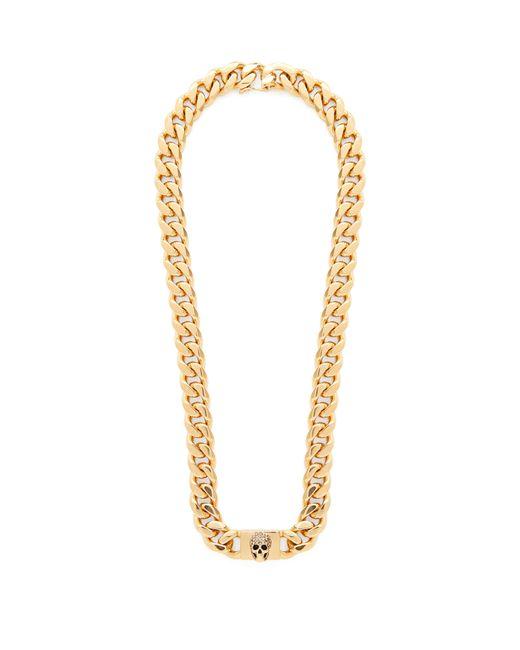 Alexander McQueen Metallic Pavé Crystal-skull Curb-chain Necklace
