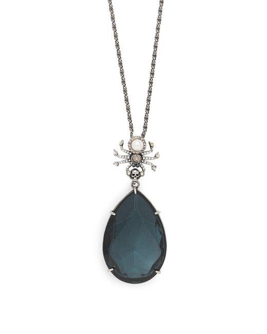 Alexander McQueen Blue Spider Swarovski-crystal Drop Earrings