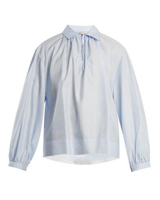 Manchester Great Sale Cheap Online Maison Margiela Woman Appliquéd Striped Cotton-poplin Shirt Azure Size 42 Maison Martin Margiela Cheap Sale Top Quality uSjyFs3xti