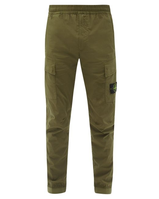 Stone Island Green Logo-patch Cotton-blend Cargo Track Pants for men