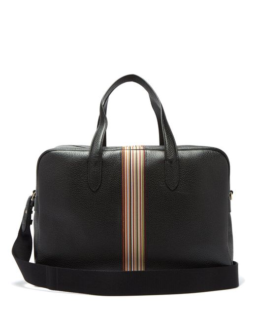 Paul Smith Black Signature Stripe Pebbled Leather Weekend Bag for men