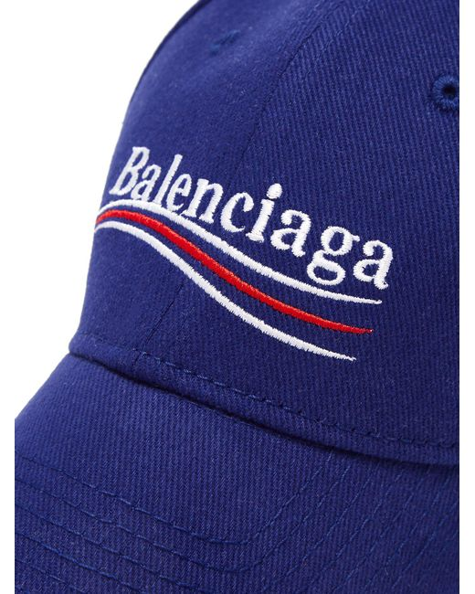cd7538f3ec5 ... Balenciaga - Blue Embroidered Cotton-twill Baseball Cap - Lyst ...