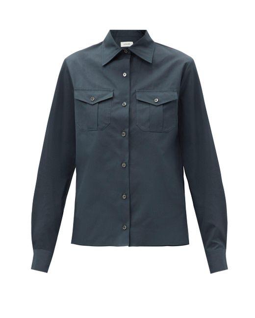 Lemaire パッチポケット コットンポプリンシャツ Blue