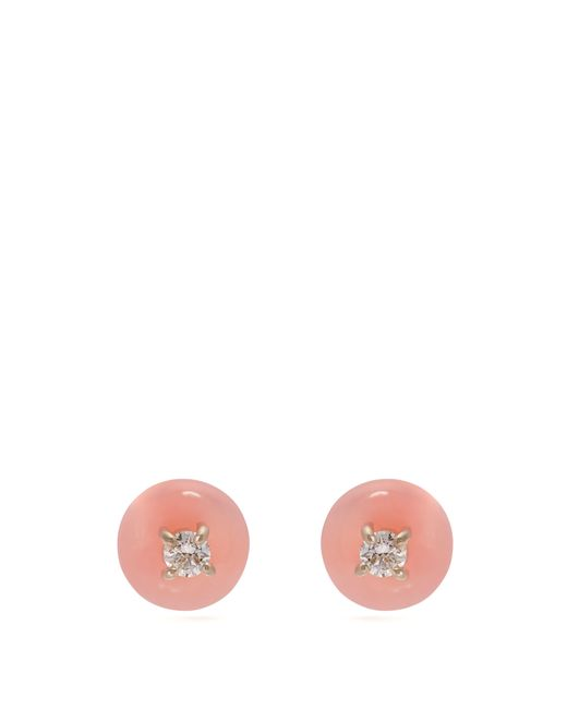 Irene Neuwirth Pink 18kt Gold, Diamond & Opal Drop Earrings