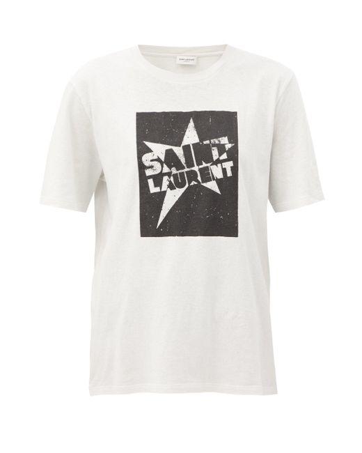 Saint Laurent スタープリント コットンtシャツ Multicolor