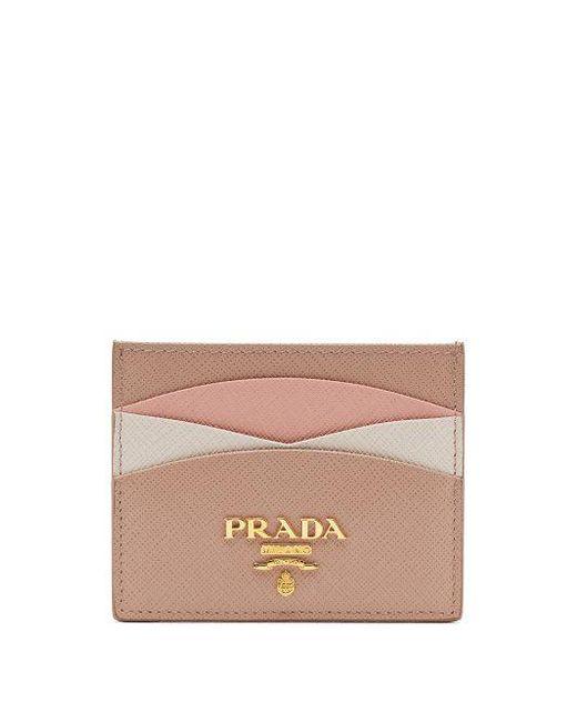 Prada - Multicolor - Scalloped Leather Cardholder - Womens - Beige Multi - Lyst
