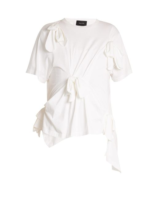 Simone Rocha | White Knot-detail Cotton-jersey T-shirt | Lyst