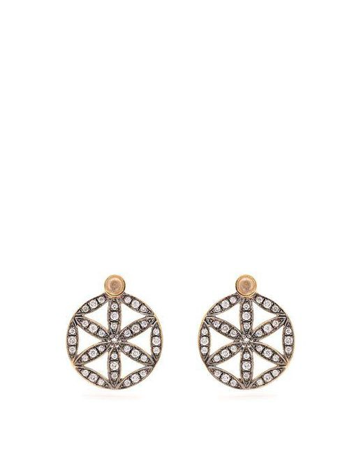 Noor Fares - Metallic Diamond, Moonstone & Yellow-gold Earrings - Lyst