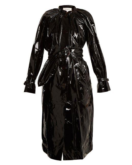 Isa Arfen - Black Tie-waist Coated Trench Coat - Lyst