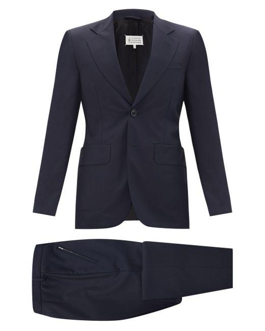 メンズ Maison Margiela ウールフレスコ ツーピーススーツ Blue