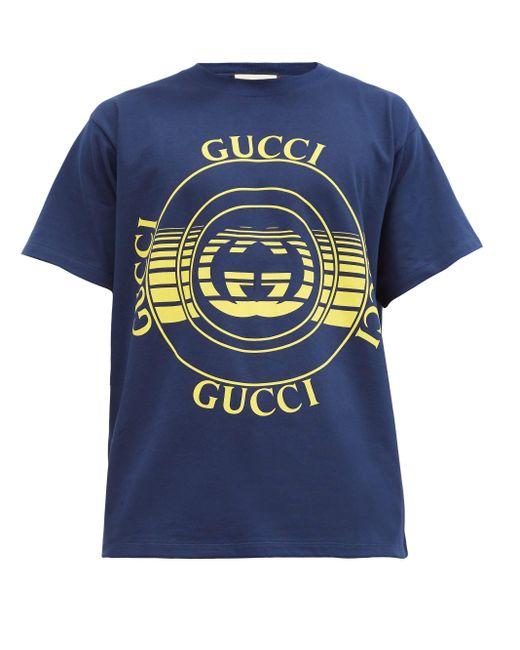 メンズ Gucci 【公式】 (グッチ) ディスク プリント オーバーサイズ Tシャツダークブルー コットンジャージーブルー Blue