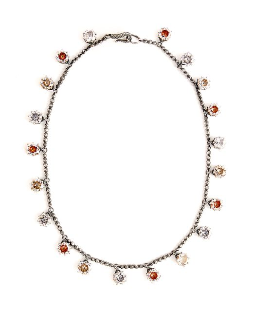 Bottega Veneta - Metallic Cubic Zirconia Oxidised Sterling Silver Necklace - Lyst