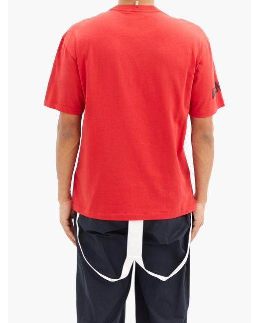 メンズ 3 MONCLER GRENOBLE ロゴ コットンtシャツ Red